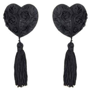 Cache-tétons en forme de cœur noir