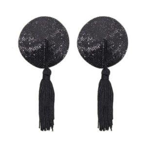 Cache-tétons noirs à paillettes