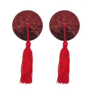 Cache-tétons rouge à paillettes