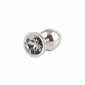 Plug anal inox serti d'un cristal Swarovski blanc